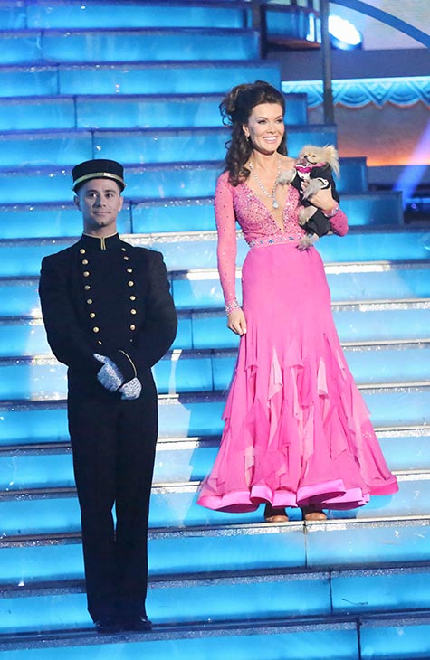 &#39;Real Housewives of Beverly Hills&#39; star Lisa Vanderpump and her partner Gleb Savchenko prepare to dance on the season 16 premiere of &#39;Dancing With The Stars,&#39; which aired on March 18, 2013. They received 18 out of 30 points from the judges for their Foxtrot routine. <span class=meta>(ABC Photo &#47; Adam Taylor)</span>