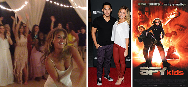 Alexa PenaVega tosses her bouquet at her wedding, as seen in a video posted on her Instagram page on Jan. 6, 2014. / Alexa Vega and Carlos Pena Jr. attend the remiere of 'The Walking Dead' on Oct. 3, 2013. / Alexa Vega appears in a poster for 'Spy Kids.')