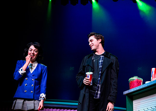 This image released by Vivacity Media Group shows Barrett Wilbert Weed as Veronica and Ryan McCartan as J.D. in a scene from the musical &#39;Heathers&#39; performing at New World Stages in New York. <span class=meta>(AP Photo &#47; Vivacity Media Group, Chad Batka)</span>