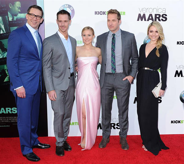 Rob Thomas &#40;&#39;Veronica Mars&#39; creator&#41;, Jason Dohring &#40;Logan Echolls&#41;, Kristen Bell &#40;Veronica Mars&#41;, Ryan Hansen &#40;Dick Casablancas&#41; and Amanda Noret &#40;Madison Sinclair&#41; appear at the premiere of &#39;Veronica Mars&#39; the movie in Hollywood, California on March 12, 2014. The four actors reprise their roles in the film, which was released on March 14 and is based on the show that aired on the WB and CW Networks between 2004 and 2007. <span class=meta>(Hollywood Press &#47; AbacaUSA &#47; Startraksphoto.com)</span>