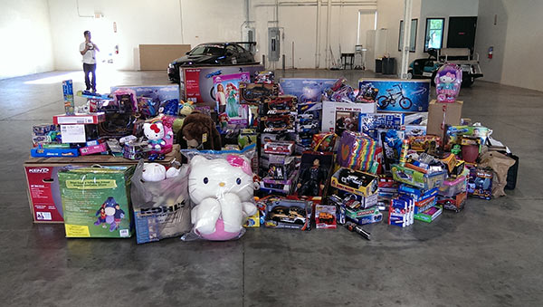A pile of toys donated to Paul Walker&#39;s charity, Read Out Worldwide, are pictured hours before he and a friend died in a car crash in Valencia, California on Nov. 30, 2013. The toys were donated in a car event and toy drive they had attended that was held not far from the fatal accident. <span class=meta>(Bill Townsend &#47; OTRC)</span>