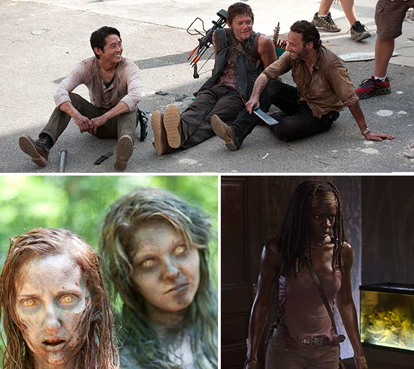 Steven Yeun, Daryl Dixon and Rick Grimes appear on the set of The Walking Dead in 2012. / Walkers appear in a scene from a 2012 episode of The Walking Dead. / Danai Gurira and Kylie Szymanski appear in a scene from The Walking Dead. - Provided courtesy of Gene Page / AMC