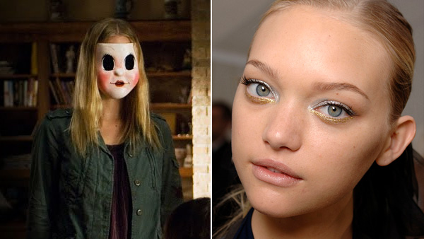 Gemma Ward appears in a scene from the 2008 film 'The Strangers.' / Gemma Ward appears in a photo from backstage at the Chanel fashion show in Paris.