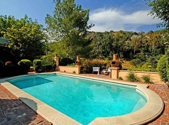 The pool outside Estella Warren's Beverly Hills...