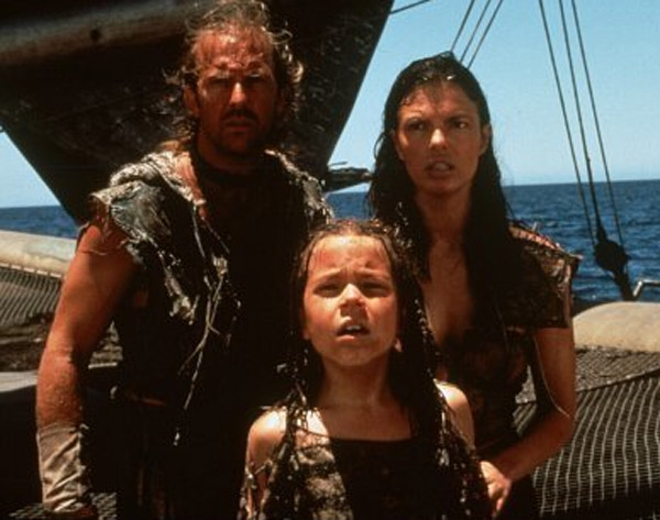 Kevin Costner (left), Jeanne Tripplehorn (right), and Tina Marjorino (middle) star in the 1995 film 'Waterworld.'