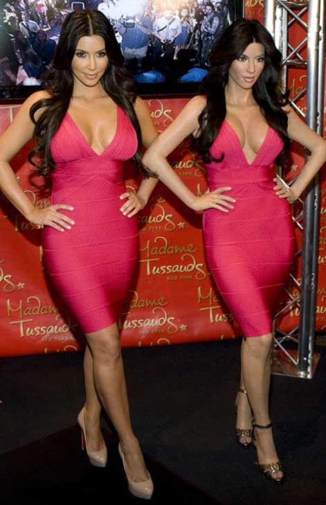 There is a wax figure of Kim Kardashian at the Madame Tussauds museum in New York.  Pictured: Kim Kardashian appears in a photo with her wax figure, on her web site. <span class=meta>(kimkardashian.celebuzz.com)</span>