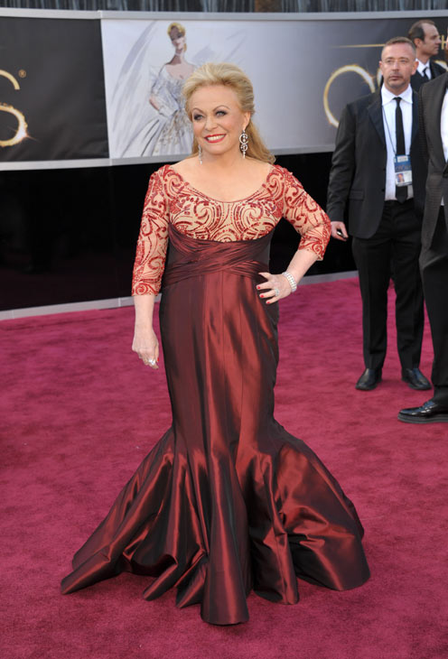 Actress Jacki Weaver arrives at the 85th Academy Awards at the Dolby Theatre on Sunday Feb. 24, 2013, in Los Angeles.