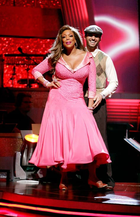 "<div class=""meta image-caption""><div class=""origin-logo origin-image ""><span></span></div><span class=""caption-text"">Wendy Williams and her partner Tony Dovolani await possible elimination. The couple received 17 out of 30 from the judges for their Quickstep on week 2 of 'Dancing With The Stars' on Monday, March 28, 2011. Combined with the first week scores of 14 out of 30, their total is 31 out of 60. (ABC Photo/ Adam Taylor)</span></div>"