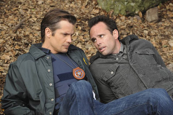 Walton Goggins and Timothy Olyphant in a still...