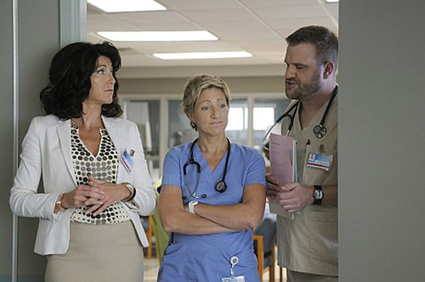 &#39;Nurse Jackie&#39; is nominated for &#39;Best Comedy Television Series,&#39; it was written by Liz Brixius, Rick Cleveland, Nancy Fichman, Liz Flahive, Jennifer Hoppe-House, Mark Hudis, Linda Wallem and Christine Zander. It was produced by Showtime. &#40;Pictured: Eve Best, Edie Falco and Stephen Wallem in a still from &#39;Nurse Jackie.&#39;&#41; <span class=meta>(Photo courtesy of Showtime)</span>