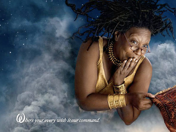 Whoopi Goldberg plays the Genie