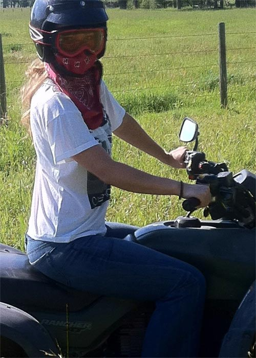 Wilde enjoys riding her all-terrain vehicle &#40;ATV&#41;.&#39;Did I mention I love Montana?&#39; she Tweeted on July 15, 2011. &#39;I&#39;m bringing my ATV to the streets of LA.&#39;&#40;Pictured: Olivia Wilde appears in a photo posted on her official Twitter page.&#41; <span class=meta>(twitter.com&#47;oliviawilde)</span>