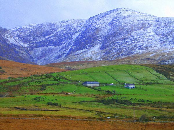 A photo of the hills of Ireland, taken in November 2005.