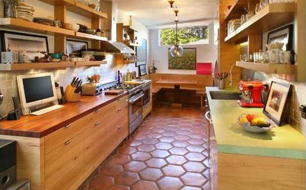 The bright kitchen in Olivia Wilde's Venice...
