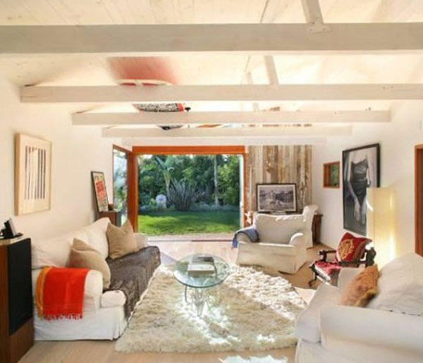 The living room at Olivia Wilde's Venice beach...