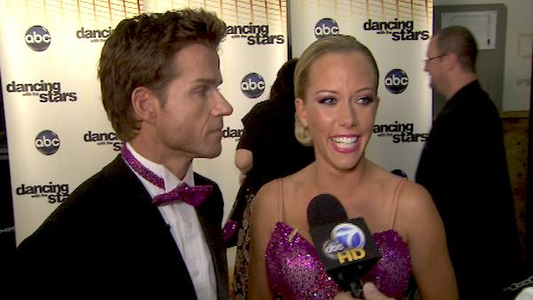 Kendra Wilkinson and Louis Van Amstel talk to...