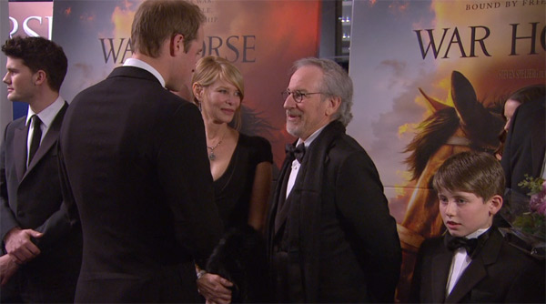 Prince William, the Duke of Cambridge, greets director Steven Spielberg at the UK Premiere of 'War Horse' in London on Sunday, Jan. 8, 2012.