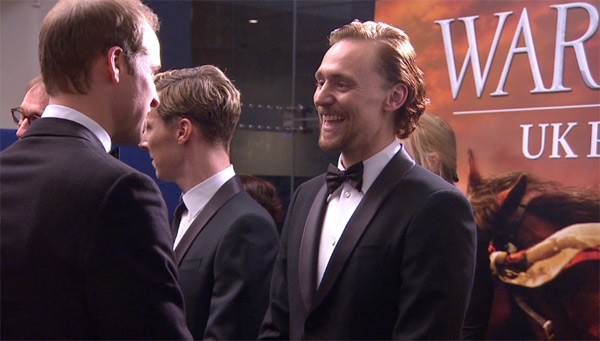 Prince William, the Duke of Cambridge, greets cast member Tom Hiddleston, who also plays Loki in 'The Avengers,' at the UK Premiere of 'War Horse' in London on Sunday, Jan. 8, 2012.