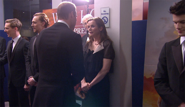 Prince William, the Duke of Cambridge, greets cast member Emily Watson at the UK Premiere of &#39;War Horse&#39; in London on Sunday, Jan. 8, 2012. <span class=meta>(DreamWorks SKG)</span>