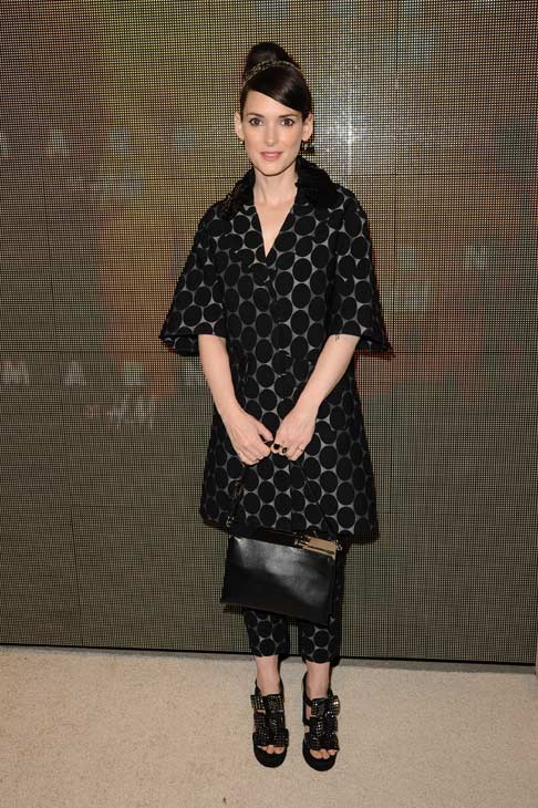 Winona Ryder appears at the launch party for H and M's Marni collection in Los Angeles on Feb. 17, 2012. She is wearing an outfit from the fashion line.