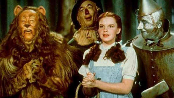From left: Bert Lahr, Ray Bolger, Judy Garland and Jack Haley appear in a scene from the 1939 film 'The Wizard of Oz.'