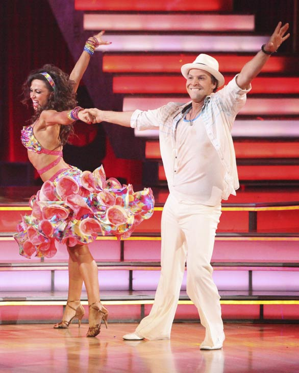"<div class=""meta ""><span class=""caption-text "">Singer Gavin DeGraw and his partner Karina Smirnoff received 19 out of 30 points from the judges for their Samba on week five of 'Dancing With The Stars,' which aired on April 16, 2012. (ABC)</span></div>"