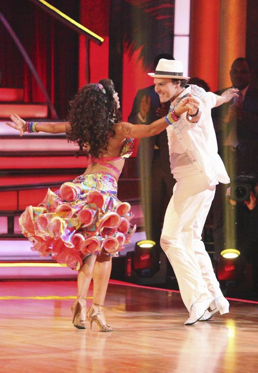 Singer Gavin DeGraw and his partner Karina Smirnoff received 19 out of 30 points from the judges for their Samba on week five of &#39;Dancing With The Stars,&#39; which aired on April 16, 2012. <span class=meta>(ABC)</span>