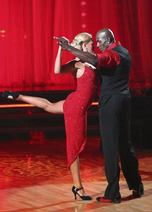 Football star Donald Driver and his partner Peta Murgatroyd received 27 out of 30 points from the judges for their Argentine Tango on week five of 'Dancing With The Stars,' which aired on April 16, 2012.