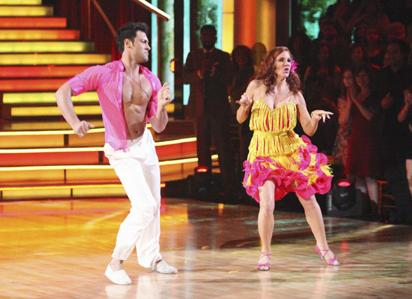 Melissa Gilbert, a former child star who played Laura on &#39;Little House on the Prairie,&#39; and her partner Maksim Chmerkovskiy received 21 out of 30 points from the judges for their Salsa on week five of &#39;Dancing With The Stars.&#39; <span class=meta>(ABC)</span>