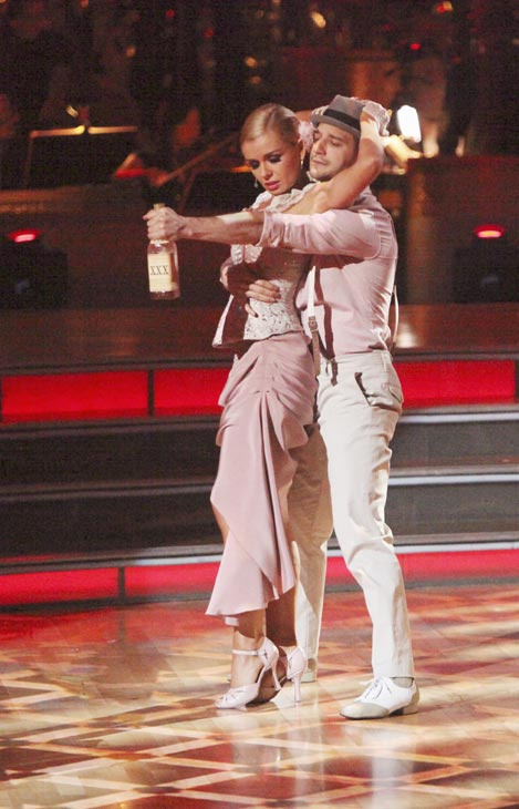 Classical singer Katherine Jenkins and her partner Mark Ballas received 29 out of 30 points from the judges for their Argentine Tango on week five of &#39;Dancing With The Stars,&#39; which aired on April 16, 2012.  <span class=meta>(ABC)</span>