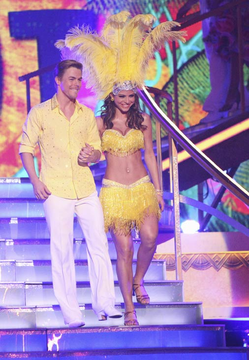 "<div class=""meta image-caption""><div class=""origin-logo origin-image ""><span></span></div><span class=""caption-text"">TV personality Maria Menounos and her partner Derek Hough received 27 out of 30 points from the judges for their Salsa on week five of 'Dancing With The Stars,' which aired on April 16, 2012. (ABC)</span></div>"