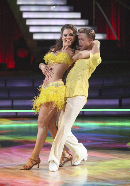 "<div class=""meta image-caption""><div class=""origin-logo origin-image ""><span></span></div><span class=""caption-text"">TV personality Maria Menounos and partner Derek Hough received 27 out of 30 points from the judges for their Salsa on week five of 'Dancing With The Stars' on April 16, 2012. (ABC)</span></div>"