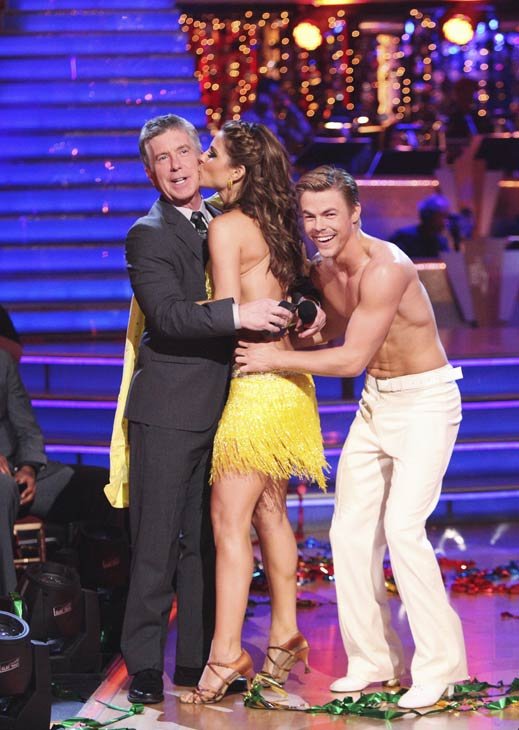 TV personality Maria Menounos kisses host Tom Bergeron. She and her partner Derek Hough received 27 out of 30 points from the judges for their Salsa on week five of &#39;Dancing With The Stars,&#39; which aired on April 16, 2012. <span class=meta>(ABC)</span>