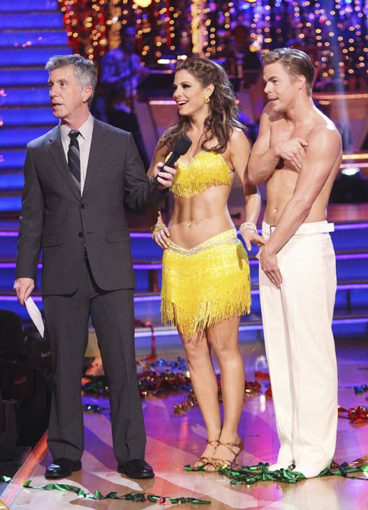 TV personality Maria Menounos, host Tom Bergeron and her partner Derek Hough appear on &#39;Dancing With The Stars&#39; on April 16, 2012. They received 27 out of 30 points from the judges for their Salsa on week five. <span class=meta>(ABC)</span>