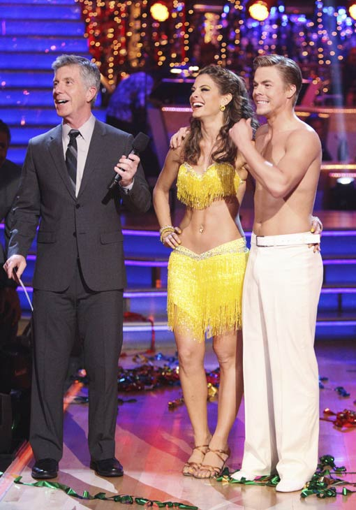 "<div class=""meta image-caption""><div class=""origin-logo origin-image ""><span></span></div><span class=""caption-text"">TV personality Maria Menounos, host Tom Bergeron and her Derek Hough appear on 'Dancing With The Stars' on April 16, 2012. They received 27 out of 30 points from the judges for their Salsa on week five. (ABC)</span></div>"