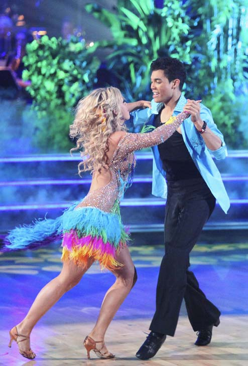 "<div class=""meta ""><span class=""caption-text "">Disney Channel star Roshon Fegan and his partner Chelsie Hightower received 26 out of 30 points from the judges for their Salsa on week five of 'Dancing With The Stars,' which aired on April 16, 2012. (ABC)</span></div>"