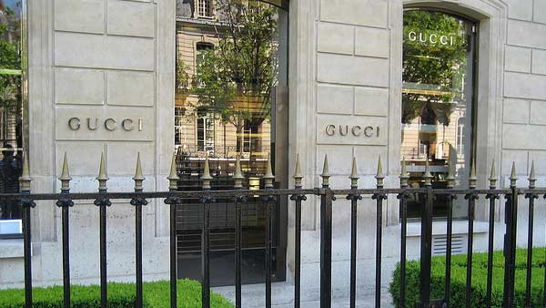 A photo of a Gucci store in Paris.