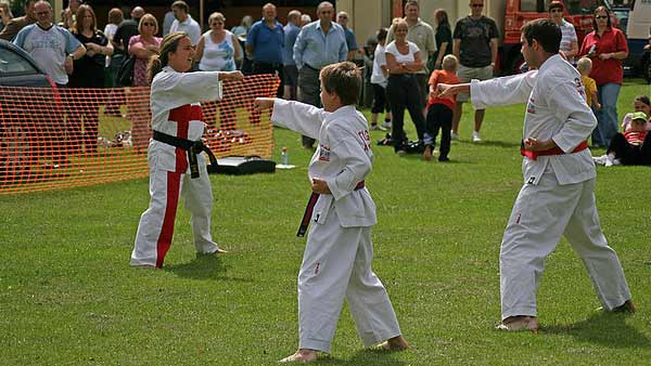 A photo of a Tae Kwon Do demonstration in England.