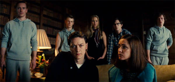 Professor Charles Xavier (James McAvoy) and his mutants gather in a scene from 'X-Men: First Class.'