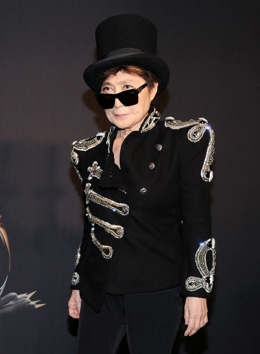 Yoko Ono arrives at a &#34;Lady Gaga Fame&#34; fragrance launch event at the Guggenheim Museum on Thursday, Sept. 13, 2012 in New York.The black tie masquerade event featured a performance art piece by Lady Gaga, &#39;Sleeping with Gaga.&#39; The film for &#39;Lady Gaga Fame,&#39; directed by Steven Klein, was also unveiled. <span class=meta>(Evan Agostini)</span>