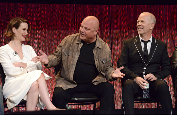 Sarah Paulson, series newcomer Michael Chiklis and Ryan Murphy, co-creator and executive producer of the FX series 'American Horror Story' appear together at a PaleyFest event celebrating the show, presented by the Paley Center for Media, at the Dolby Theatre in Hollywood, California on March 28, 2014. The fourth season, 'Freakshow,' is set to premiere in the fall.