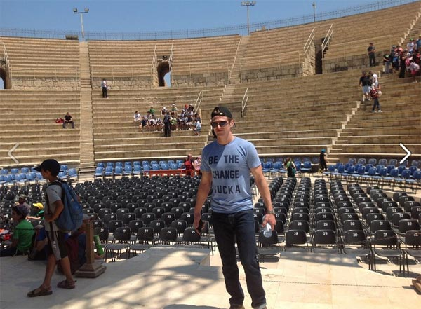 Zach Roerig of the CW show 'The Vampire Diaries' appears at the famous ancient Roman amphitheater in Caesarea during a celebrity trip to Israel on May 7, 2012.