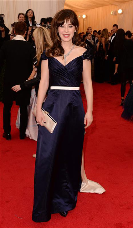 Zooey Deschanel appears at the Metropolitan Museum of Art&#39;s 2014 Costume Institute Benefit gala, celebrating &#39;Charles James: Beyond Fashion,&#39; in New York on May 5, 2014. <span class=meta>(Richard Young &#47; Rex &#47; Startraksphoto.com)</span>