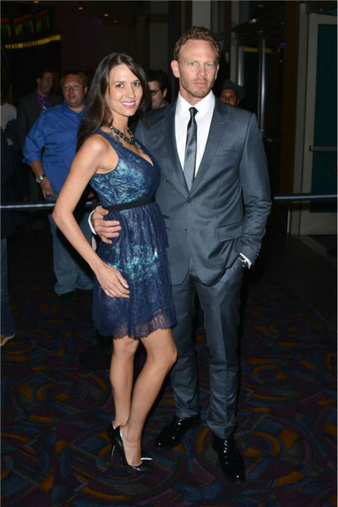 Ian Ziering and wife Erin Kristin Ludwig attend the premiere of 'Sharknado' on Aug. 2, 2013.