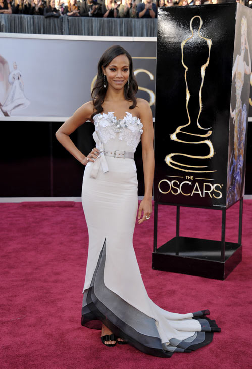 Actress Zoe Saldana arrives at the 85th Academy Awards at the Dolby Theatre on Sunday Feb. 24, 2013, in Los Angeles.