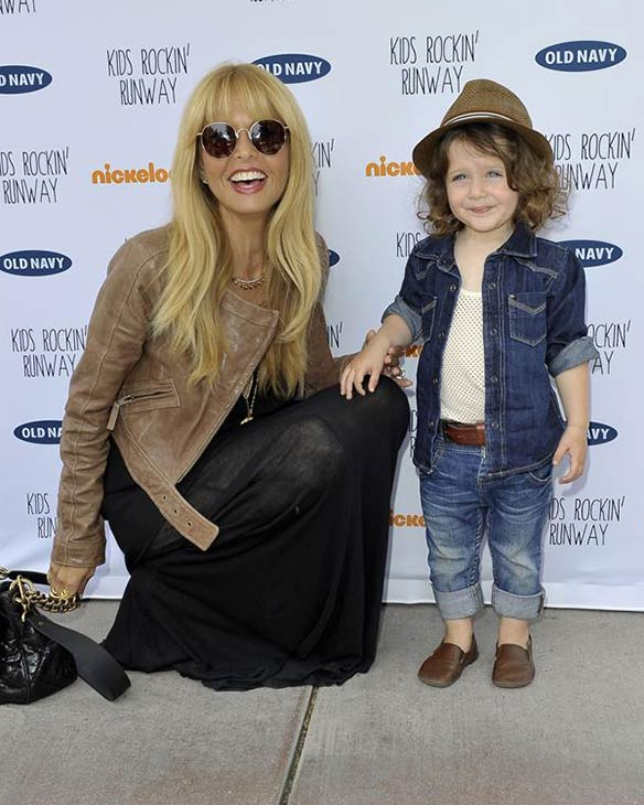 Rachel Zoe poses with her 2-year-old son Skyler Berman at the Old Navy Kid Rockin' Runway event in support of Baby2Baby at the Third Street Promenade in Santa Monica, California on Aug. 3, 2013.