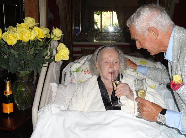 Zsa Zsa Gabor, 94, is seen with husband Frederic Prinz von Anhalt at their Ben Air home. They celebrated his 68th birthday on June 18, 2011 with a champagne toast, the couple&#39;s spokesperson told OnTheRedCarpet.com on June 20, 2011. <span class=meta>(John Blanchette)</span>