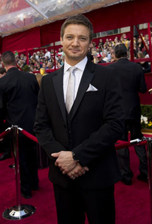 "<div class=""meta ""><span class=""caption-text "">Jeremy Renner, Academy Award nominee for Best Actor for his work in 'Hurt Locker,' arrives at the 82nd Annual Academy Awards at the Kodak Theatre in Hollywood, CA, on Sunday, March 7, 2010. (Richard Harbaugh / ©A.M.P.A.S.)</span></div>"