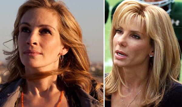 Julia Roberts in a scene from the film 'Eat Pray Love' in 2010. / Sandra Bullock (right)  in a scene from 'The Blind Side.'
