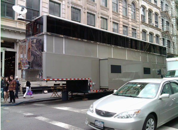A New York City witness posted this photo of a 'monster' double-decker trailer said to be used by Will Smith as he films 'Men In Black 3' in New York in May 2011. The mobile structure is reportedly worth $2 million.